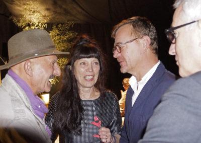 Reza, photographe et parrain du festival, Marie Bernar, Pascal Andurant et Marc Latané conseillers techniques de la Drac.