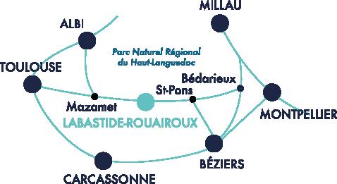 Carte du Parce Naturel Régional du Haut-Languedoc - Festival Labastide-Rouairoux