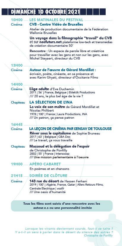 Programme du 14e Festival Échos d'ici, Échos d'ailleurs, sur les pas de Christophe de Ponfilly Dimanche 10 Octobre 2021