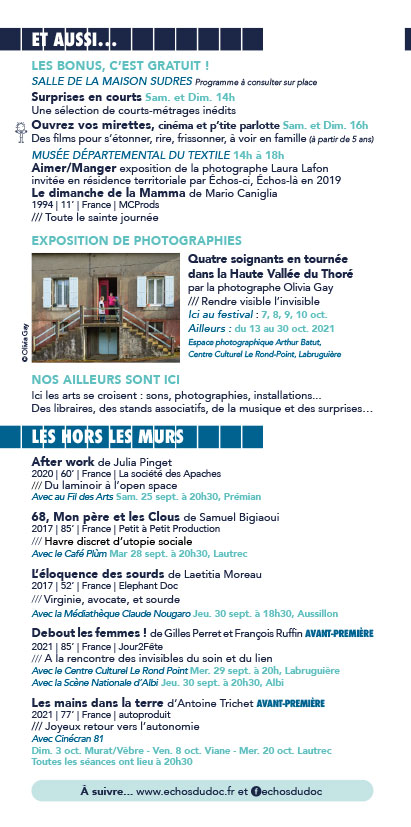 Programme du 14e Festival Échos d'ici, Échos d'ailleurs, sur les pas de Christophe de Ponfilly Hors les murs
